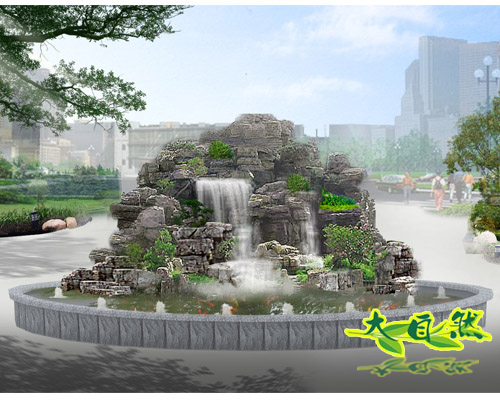 假山瀑布手绘效果图园林假山手绘效果图园林假山