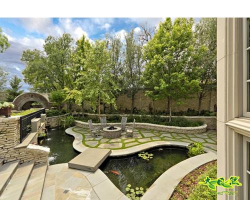 庭院水池小桥